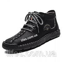 Мужские ботинки натуральная кожа с мехом размер 43 черные