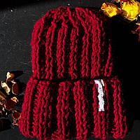 Модная зимняя женская вязаная шапка ручной работы из шерсти КОХАНА «Бордо»