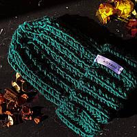 Объемная женская шапка крупной вязки на зиму hand made из шерсти КОХАНА «Петроль»