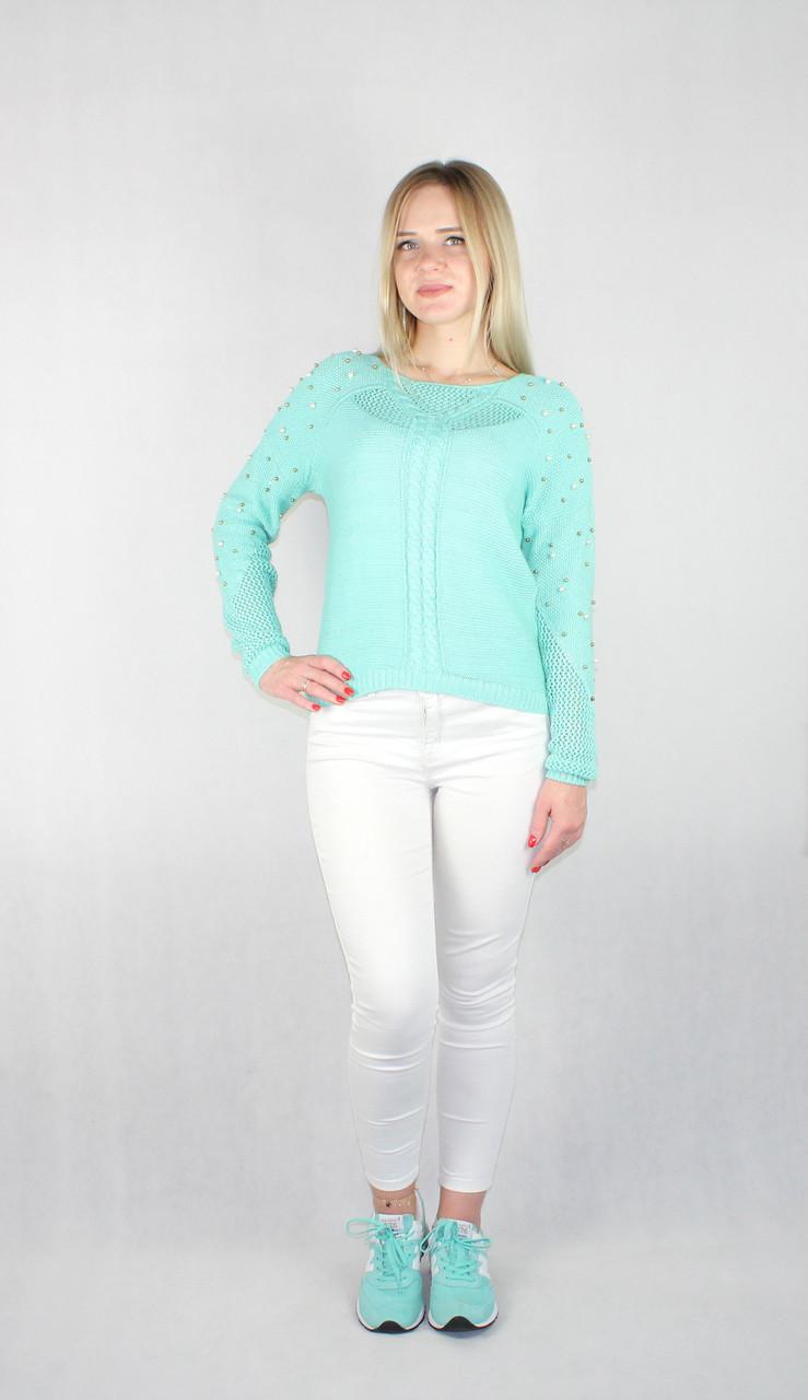 Женский блестящий вязаный свитер мятного цвета