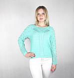Женский блестящий вязаный свитер мятного цвета, фото 3