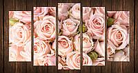 Картина модульная HolstArt Нежные розы 4 71*128см 5 модулей арт.HAB-225