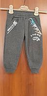 Теплые спортивные брюки для мальчика на флисе серые 86 92 98 104