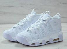 Мужские кроссовки в стиле Nike Air More Uptempo All White, фото 3