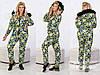 Стильный зимний женский комбинезон на синтепоне со съемным капюшоном с пышным мехом, батал большие размеры, фото 4