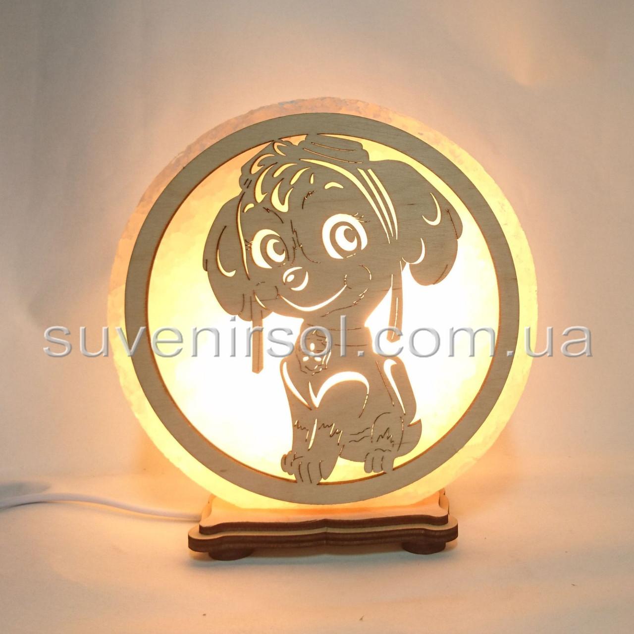 Соляной светильник круглый Собака