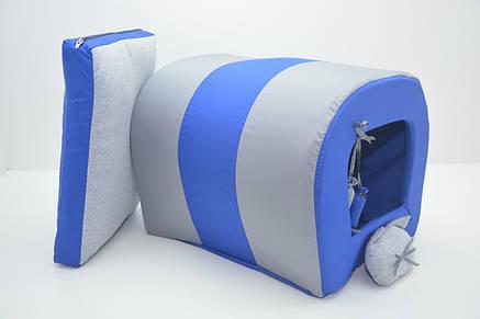 Будка туннель для собак и котов Комфорт лето синяя, фото 2