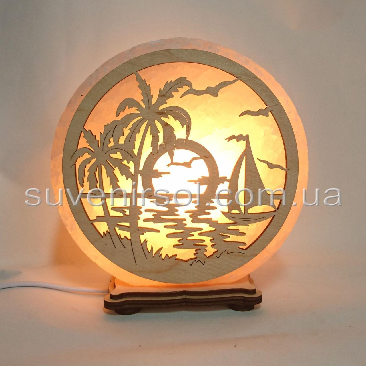 Соляной светильник круглый Яхта и пальма