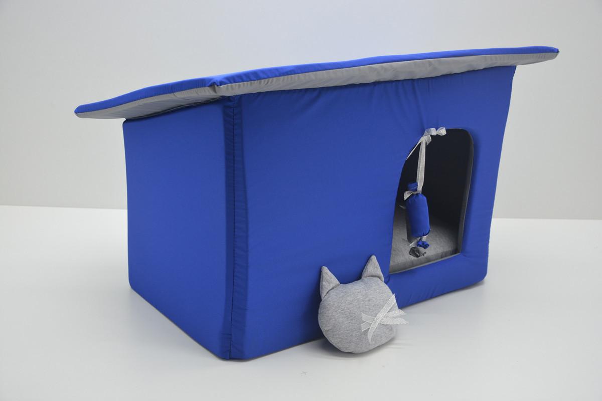 Домик Уют для котов и собак Комфорт лето синий
