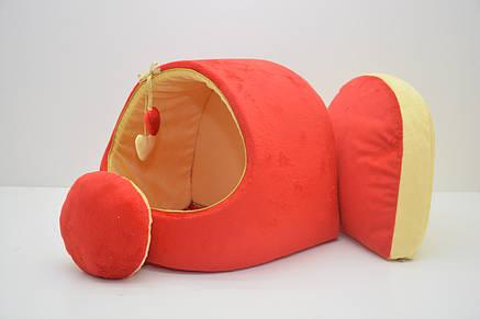 Будка для собак и котов Плюш красная, фото 2