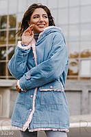 Джинсовая куртка-парка на меху,голубая