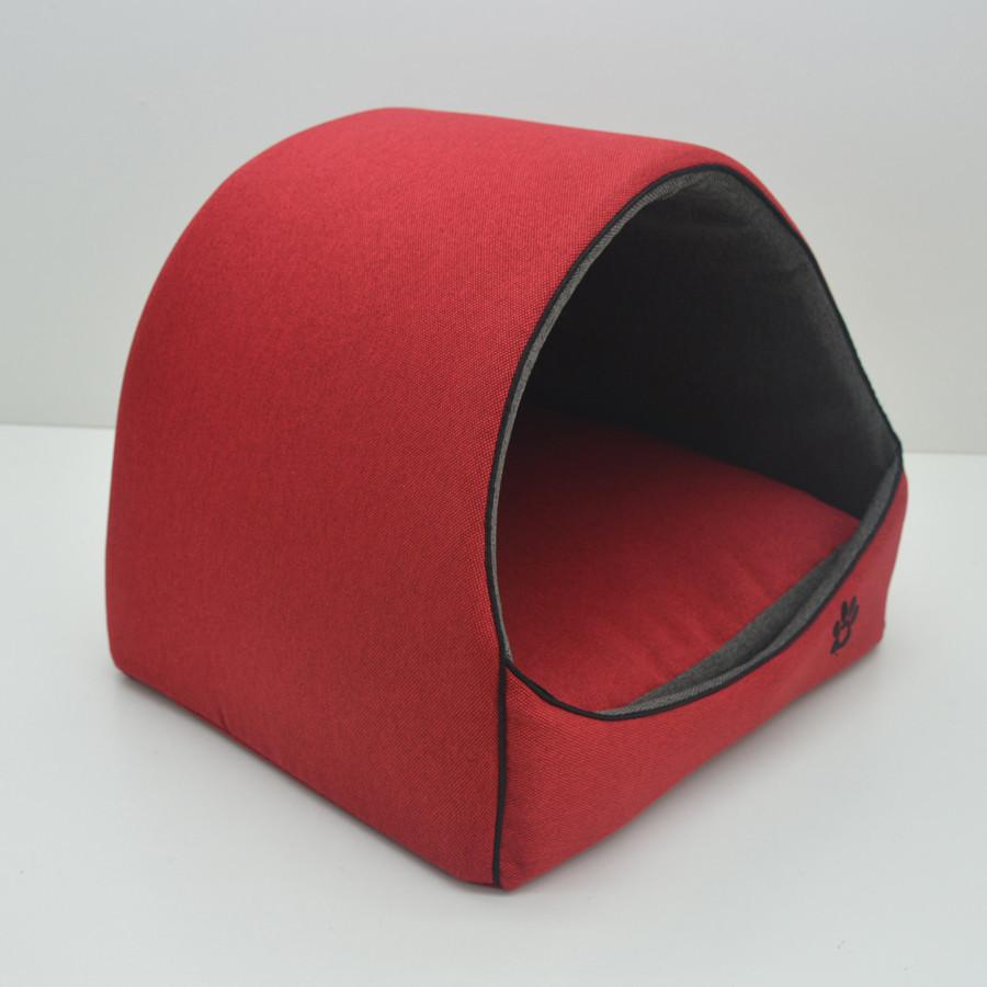 Будка для котів і собак Loft №1 36х32х32 см червоно-сіра