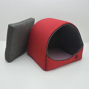 Будка для котів і собак Loft №1 36х32х32 см червоно-сіра, фото 2