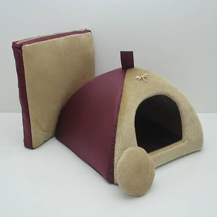 Домик юрта для котов и собак Мех бордовый №0, фото 2