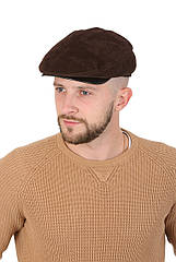 Кепка замшевая классическая мужская коричневая