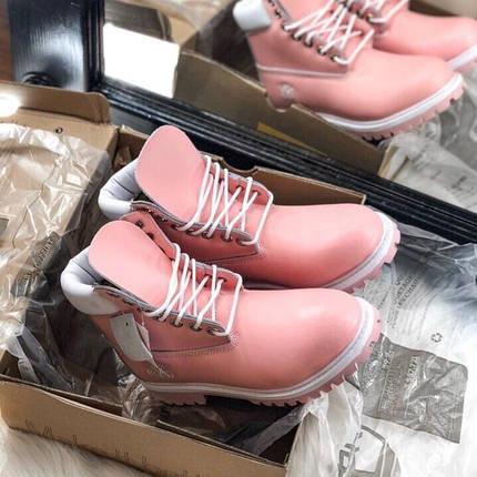 Женские демисезонные ботинки в стиле Timberland Pink, фото 2