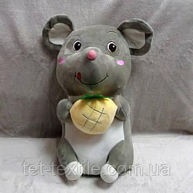 Плед - мягкая игрушка 3 в 1 Мышка серая с ананасом