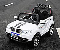 Детский электромобиль Джип BMW_4WD, 2-х местный, Кожа, EVA-резина, Амортизаторы, белый
