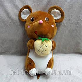 Плед - мягкая игрушка 3 в 1 Мышка коричневая с ананасом