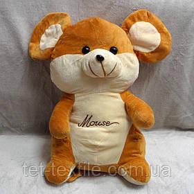 Плед - мягкая игрушка 3 в 1 Мышка коричнево - бежевая
