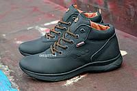 Мужские кожаные зимние водонепроницаемые ботинки ECCO на меху , теплые и ноские