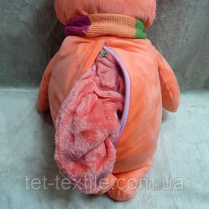 Плед - мягкая игрушка 3 в 1 Мишка с шарфиком коралловый, фото 2