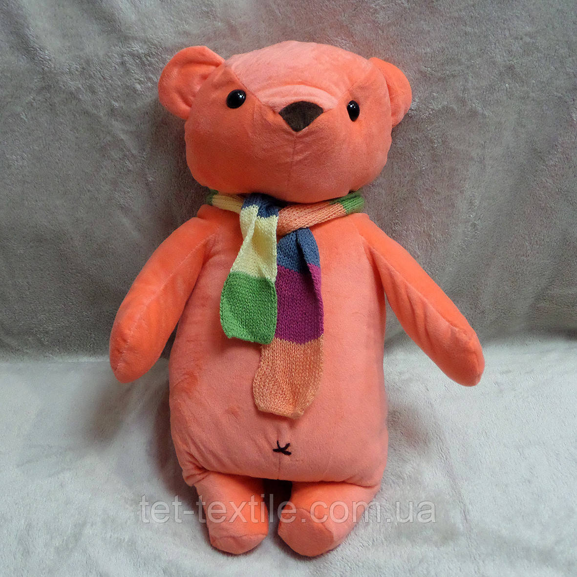 Плед - мягкая игрушка 3 в 1 Мишка с шарфиком коралловый