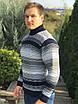 Теплый мужской свитер в полоску под горло с отворотом, Размеры: XL (52-54), L (48-50), фото 3