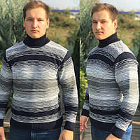 Теплый мужской свитер в полоску под горло с отворотом, Размеры: XL (52-54), L (48-50)