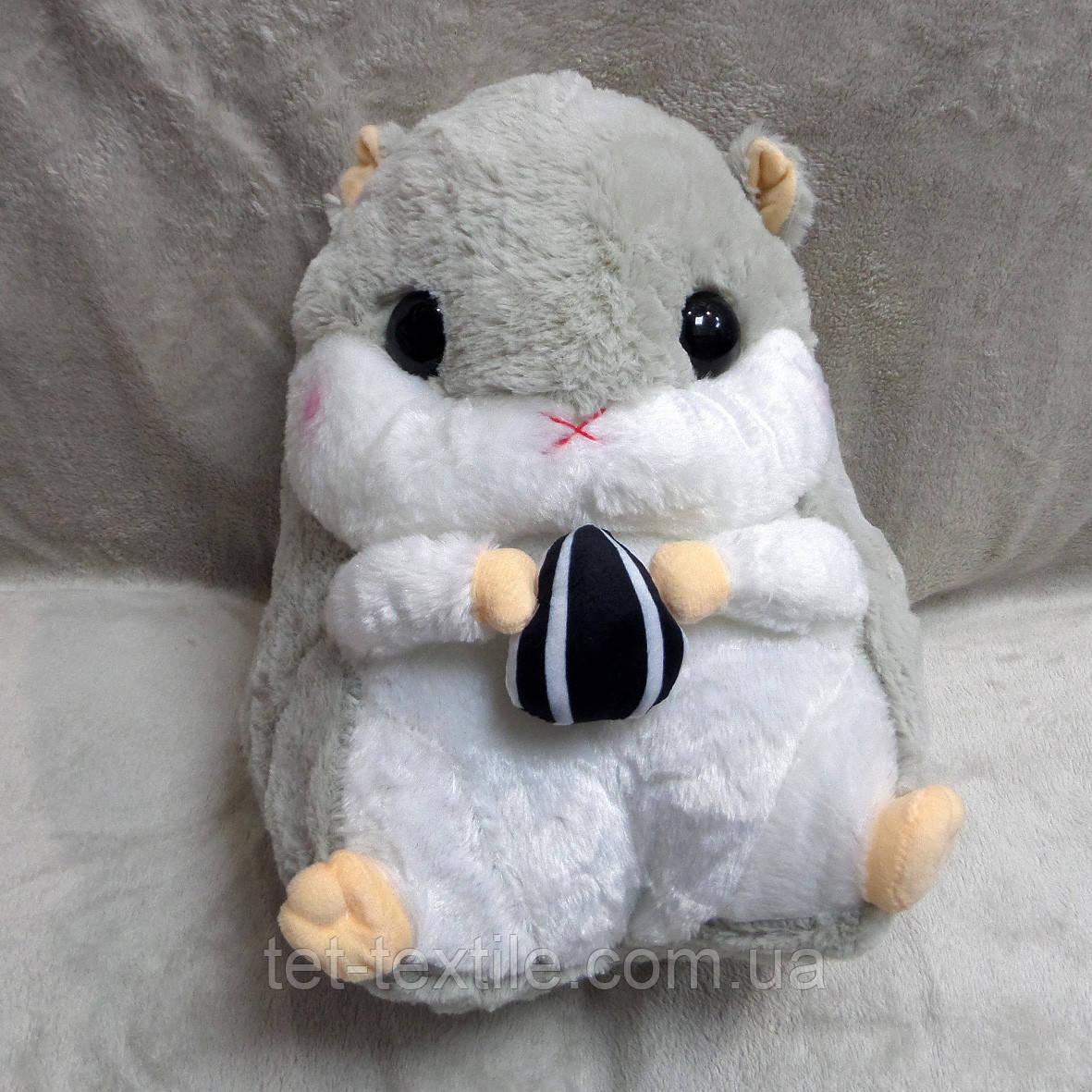 Плед - мягкая игрушка 3 в 1 Бурундучок серый с белым