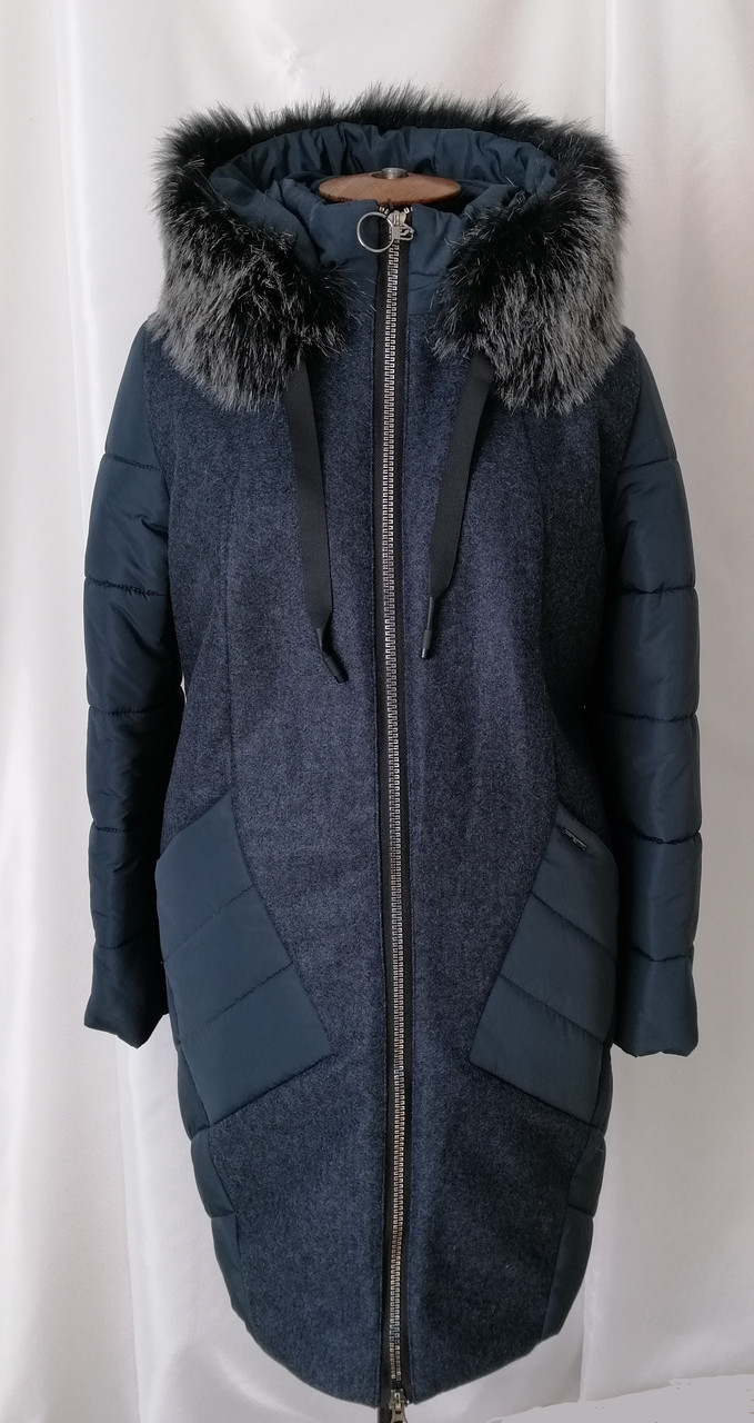 Женская куртка пуховик батал 52-60 зеленый