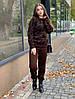 Костюм женский стильный вязаный теплый кофта леопардовый принт и брюки Dol1947