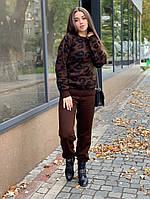 Костюм женский стильный вязаный теплый кофта леопардовый принт и брюки Dol1947, фото 1