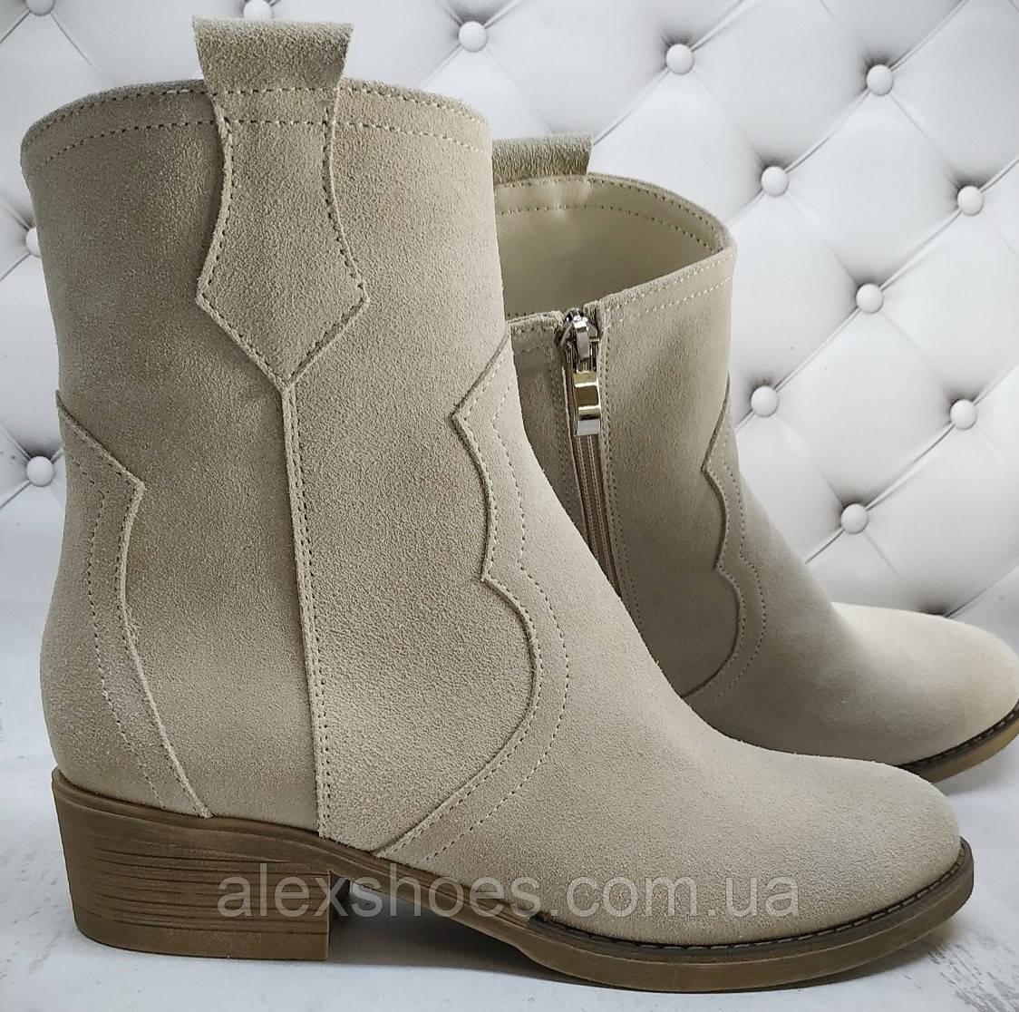 Ботинки женские зимние на устойчивом каблуке из натуральной замши от производителя модель НИ304-6-6