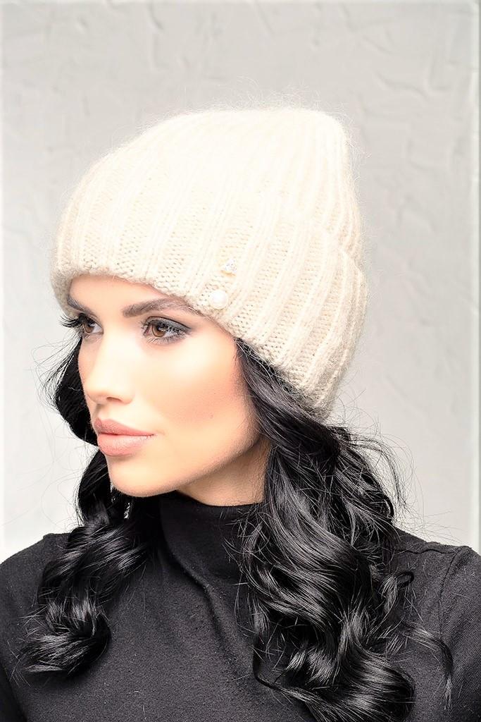 Женская шапка с отворотом Flirt Персия One Size молоко