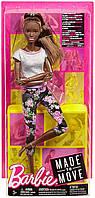 Кукла Барби Фитнес темнокожая афроамериканка Barbie Made to Move Dark Hair двигайся как я FTG83