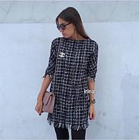 Женское зимнее теплое платье твид с брошью 42 -44 44-46