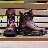 Женские зимние ботинки из натуральной кожи на платформе