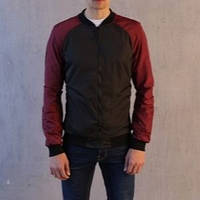 "Мужская демисезонная куртка Pobedov Bomber ""PaBlo Zibrovv"" Black/Burgundy (S, M, L, XL размеры)"