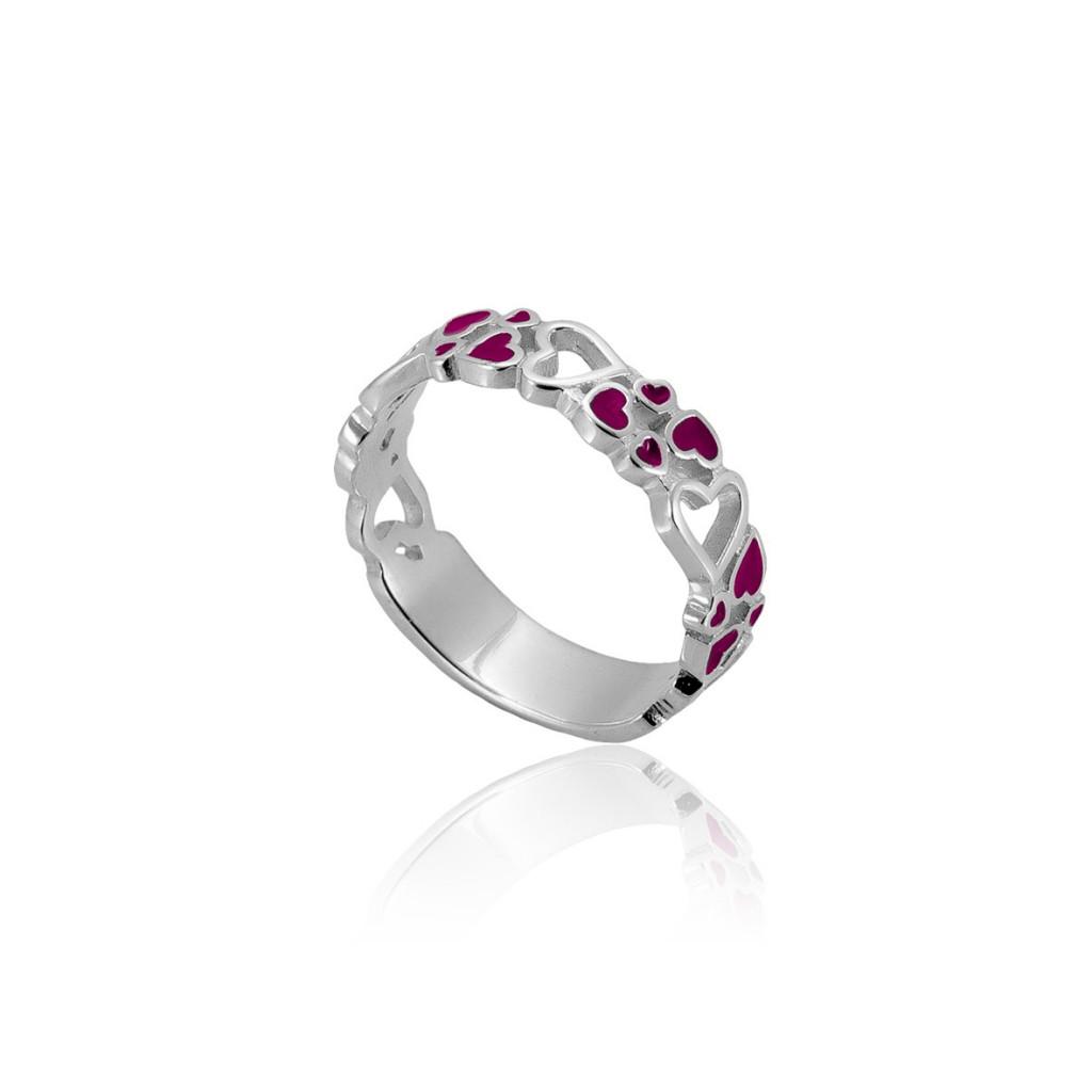 Серебряное кольцо Любава с розовой эмалью 16.5 размер