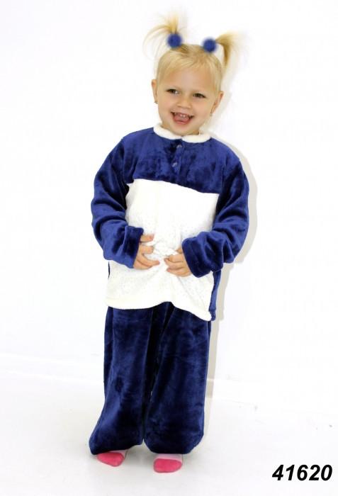 Детская махровая пижама сине-белая на рост 104,128
