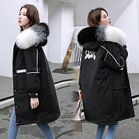 Пуховик пальто женский с капюшоном мега стильный, черный, серый, красный, желтый, белый (NORI - 0010223)