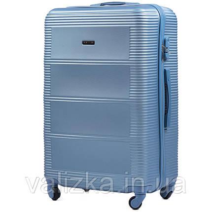Средний чемодан из поликарбоната Wings 203 на 4-х колесах голубой, фото 2