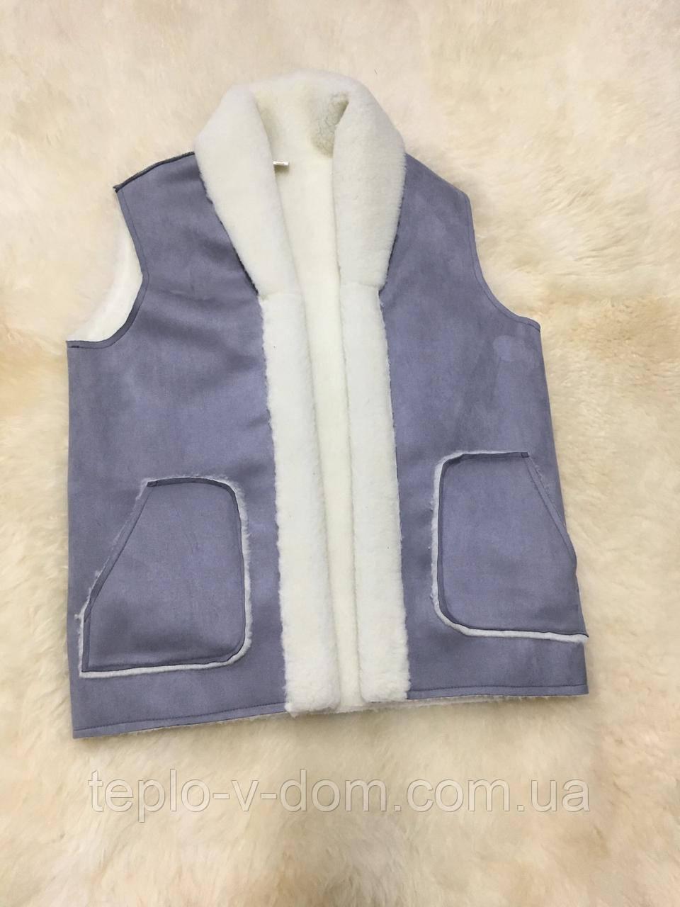 Безрукавка из овечьей шерсти замшевая с карманами без застежек, серый