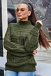 S506/7 Женский свитер под горло  крупная вязка, фото 5