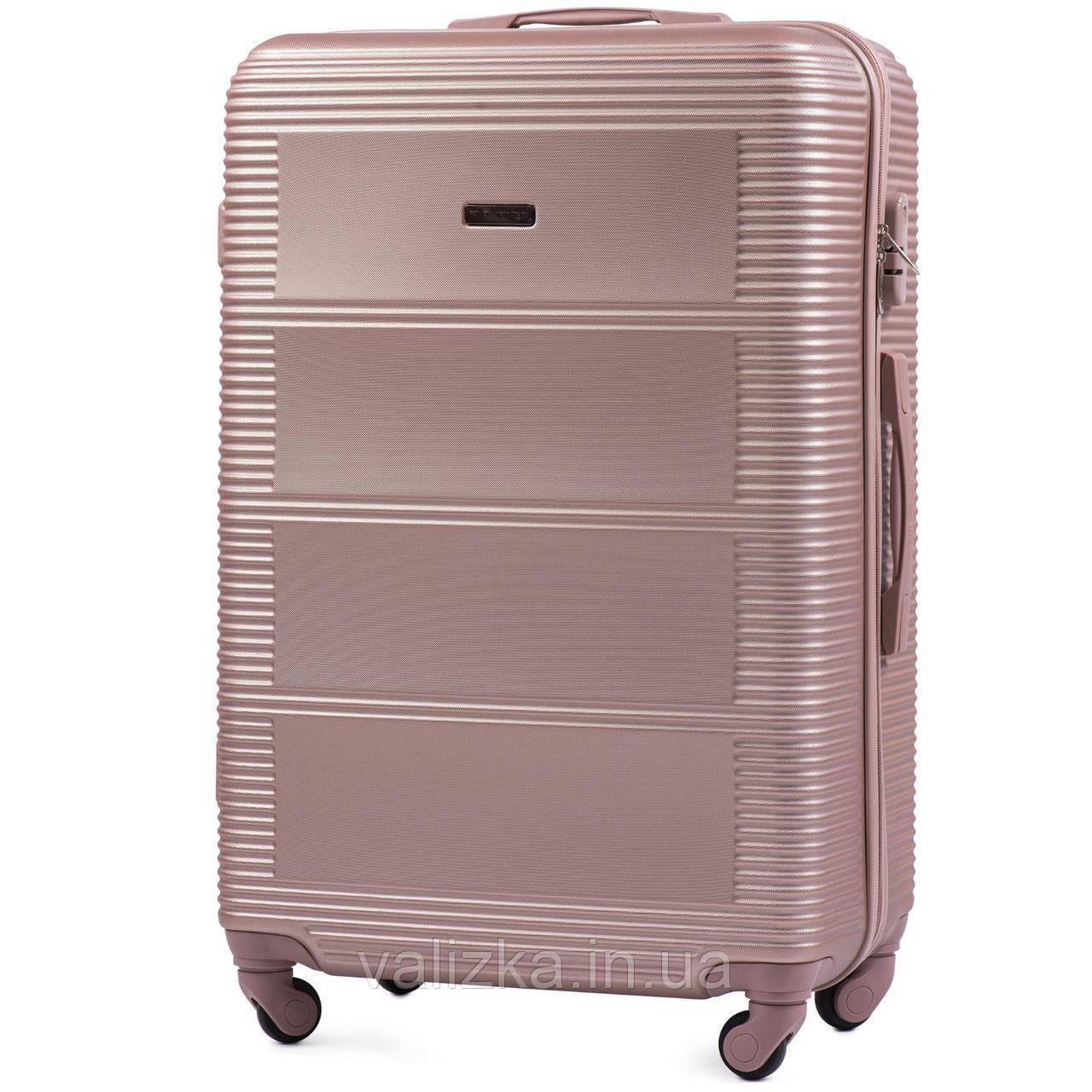 Великий чемодан з полікарбонату Wings 203 на 4-х колесах рожеве золото