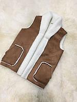Безрукавка из овечьей шерсти замшевая с карманами без застежек, коричневый