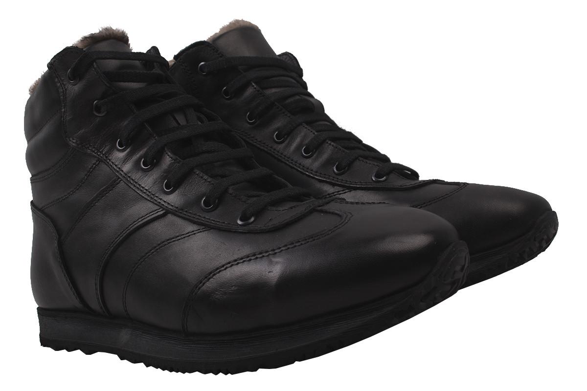 Ботинки мужские зимние Entino натуральная кожа, цвет черный, размер 40-44, Турция