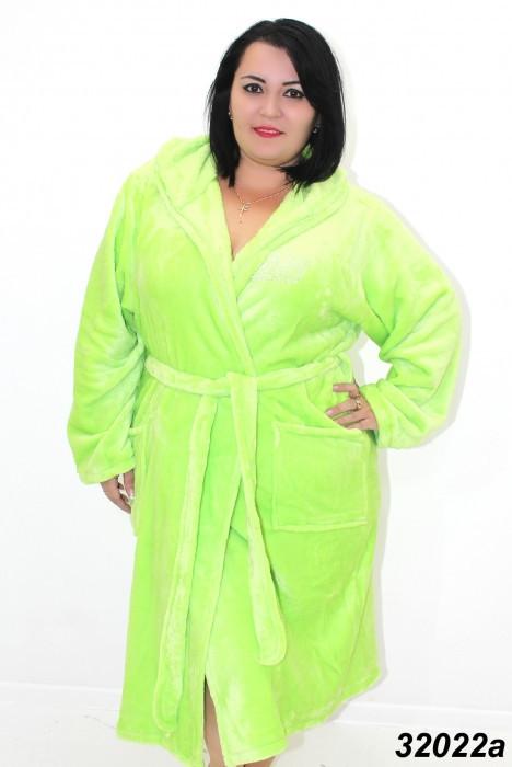 Женский салатовый теплый халат большого размера 54,56,58