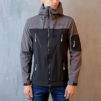 "Мужская демисезонная куртка Pobedov Jacket ""Korol' Lev"" Black/Grey (S, M, L, XL размеры)"